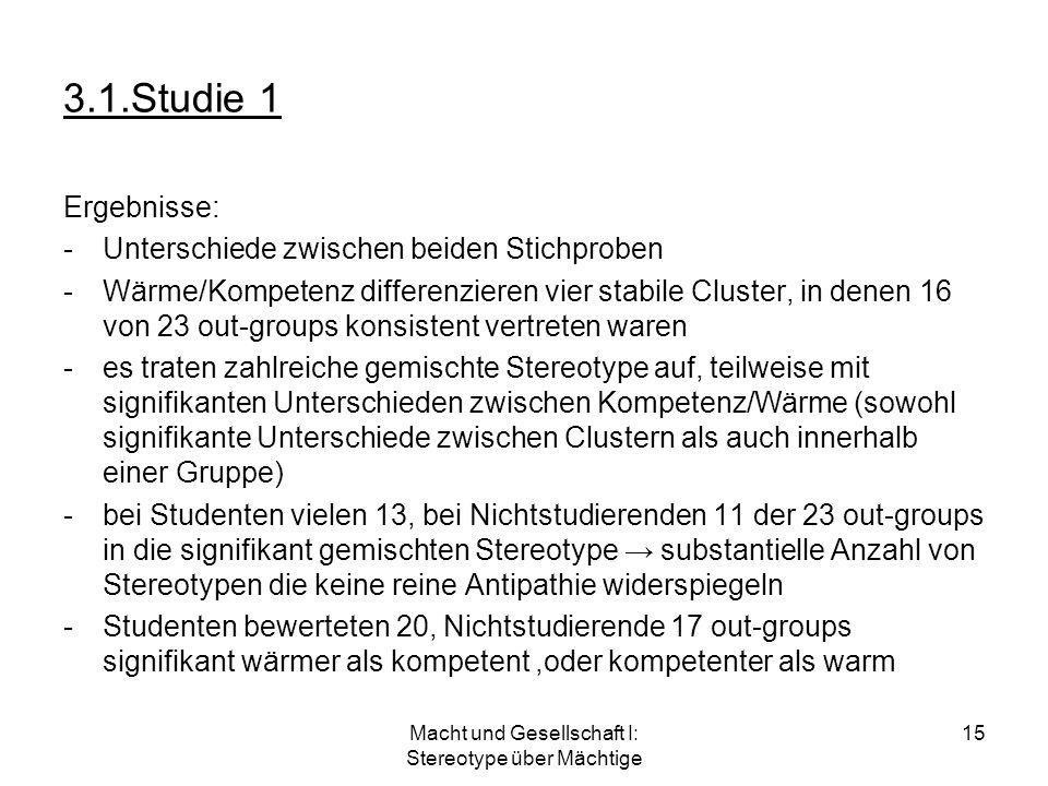 Macht und Gesellschaft I: Stereotype über Mächtige 15 3.1.Studie 1 Ergebnisse: -Unterschiede zwischen beiden Stichproben -Wärme/Kompetenz differenzier