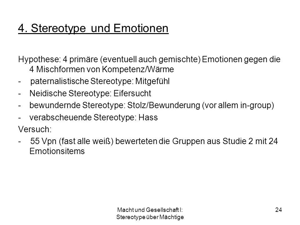 Macht und Gesellschaft I: Stereotype über Mächtige 24 4. Stereotype und Emotionen Hypothese: 4 primäre (eventuell auch gemischte) Emotionen gegen die