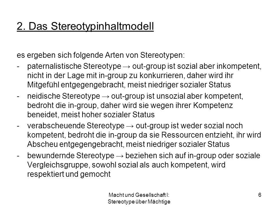 Macht und Gesellschaft I: Stereotype über Mächtige 6 2. Das Stereotypinhaltmodell es ergeben sich folgende Arten von Stereotypen: -paternalistische St