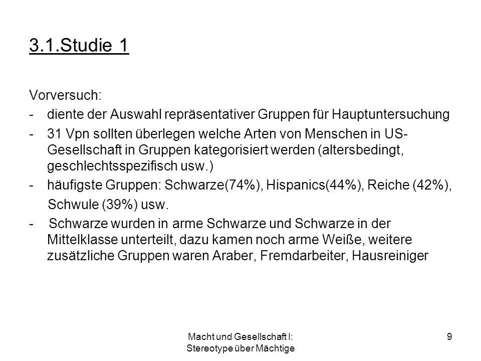 Macht und Gesellschaft I: Stereotype über Mächtige 9 3.1.Studie 1 Vorversuch: -diente der Auswahl repräsentativer Gruppen für Hauptuntersuchung -31 Vp