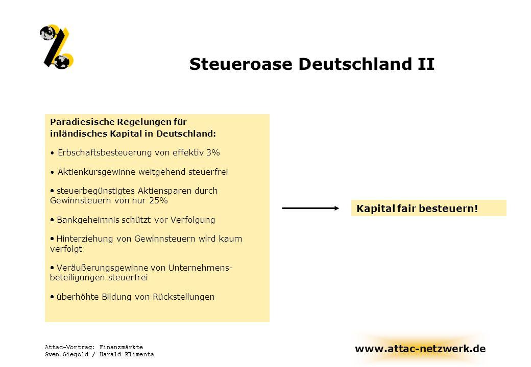 www.attac-netzwerk.de Attac-Vortrag: Finanzmärkte Sven Giegold / Harald Klimenta Steueroase Deutschland II Paradiesische Regelungen für inländisches K