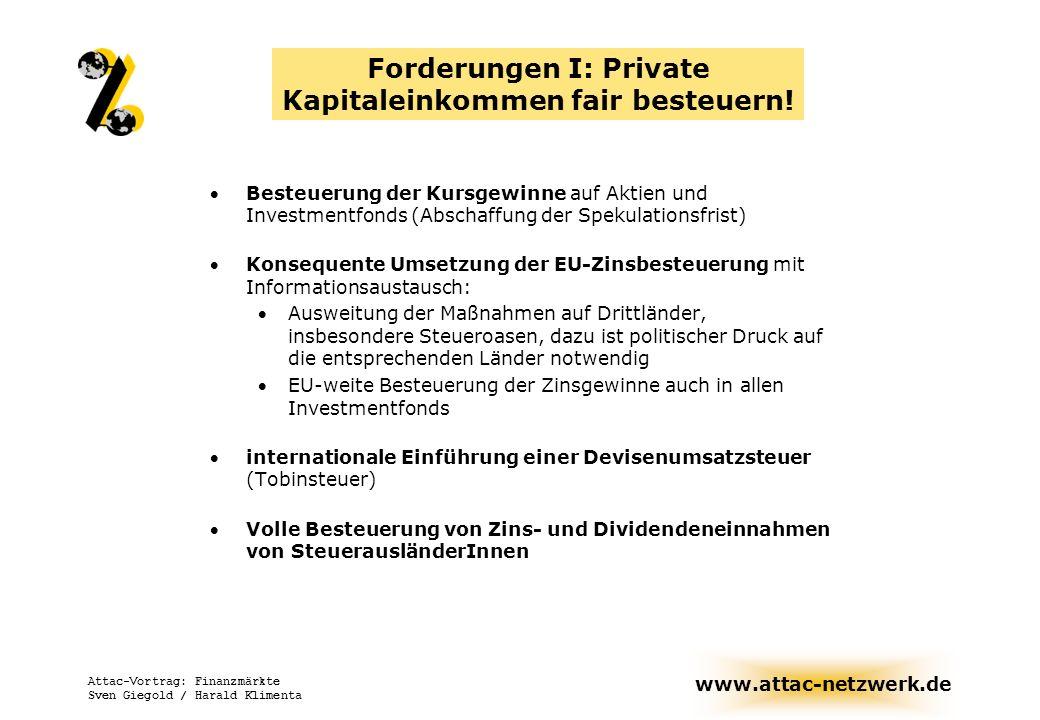 www.attac-netzwerk.de Attac-Vortrag: Finanzmärkte Sven Giegold / Harald Klimenta Forderungen I: Private Kapitaleinkommen fair besteuern! Besteuerung d
