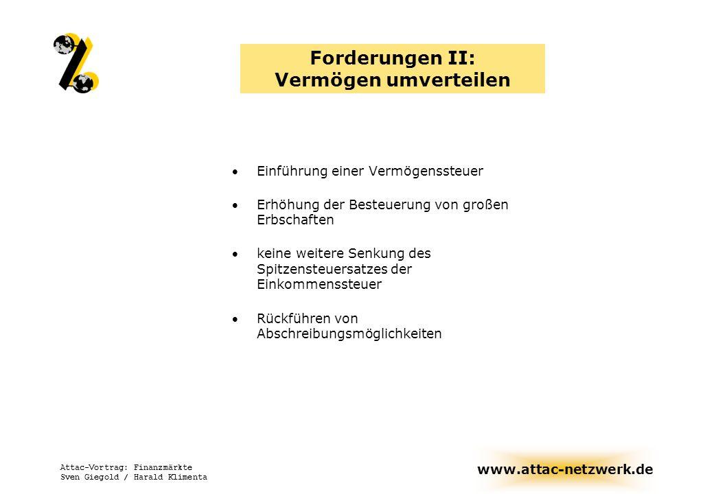 www.attac-netzwerk.de Attac-Vortrag: Finanzmärkte Sven Giegold / Harald Klimenta Forderungen II: Vermögen umverteilen Einführung einer Vermögenssteuer