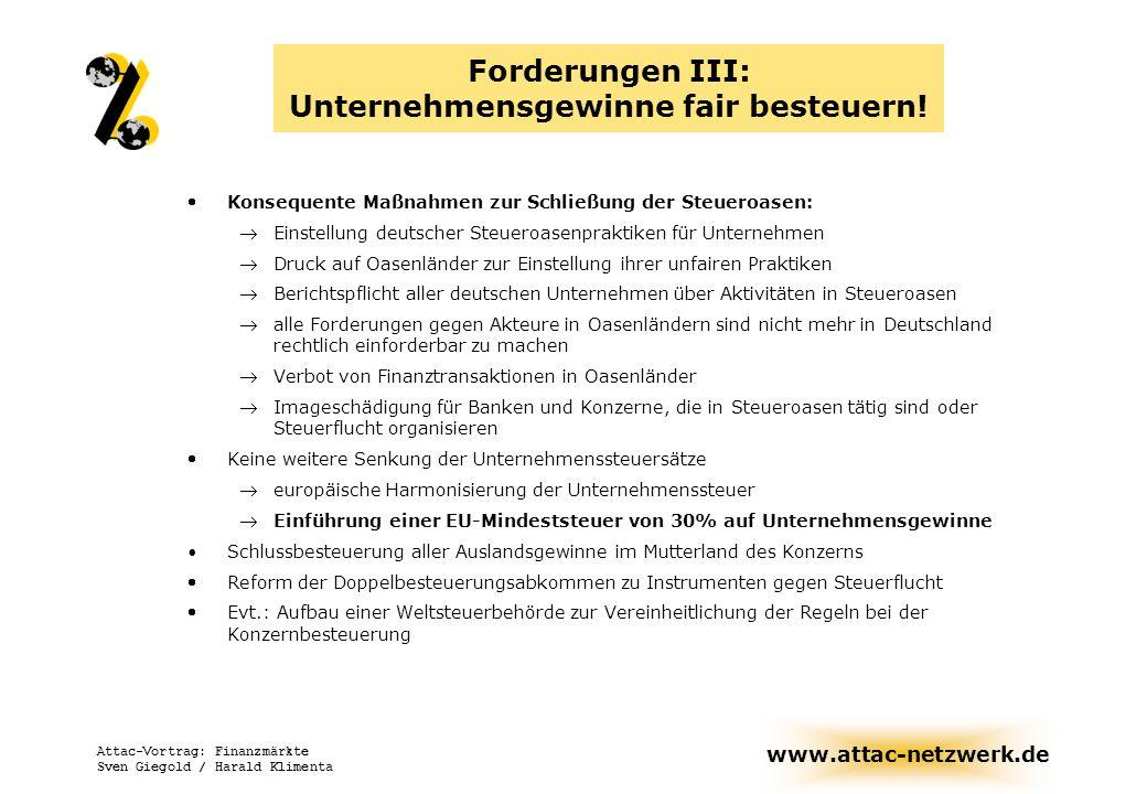 www.attac-netzwerk.de Attac-Vortrag: Finanzmärkte Sven Giegold / Harald Klimenta Forderungen III: Unternehmensgewinne fair besteuern! Konsequente Maßn