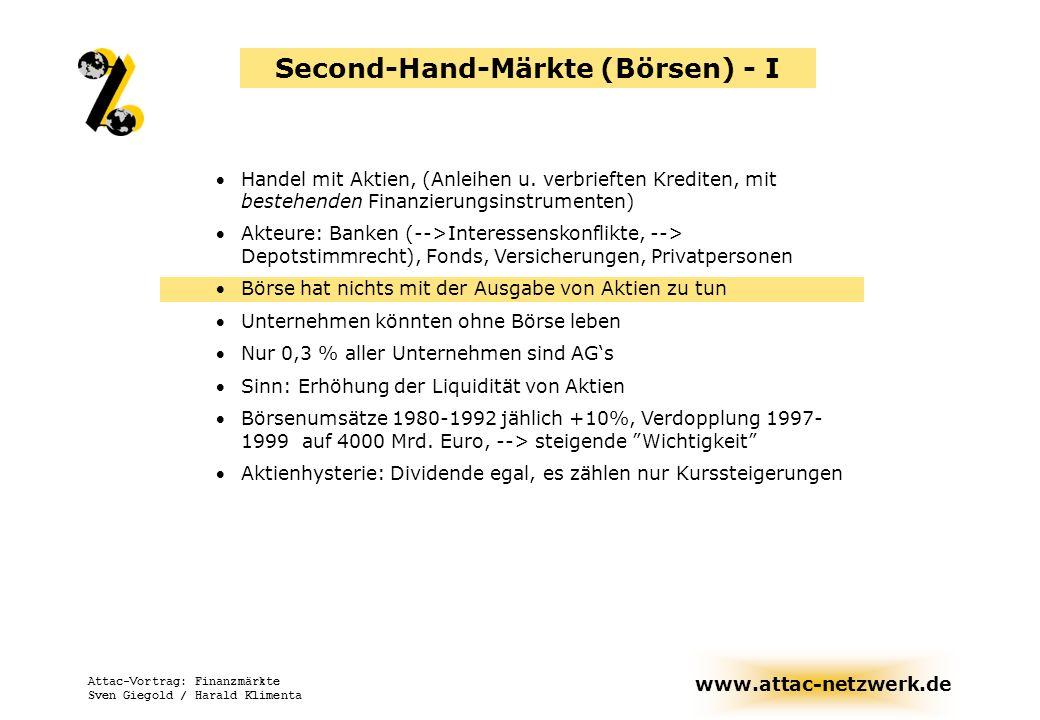www.attac-netzwerk.de Attac-Vortrag: Finanzmärkte Sven Giegold / Harald Klimenta Second-Hand-Märkte (Börsen) - I Handel mit Aktien, (Anleihen u. verbr