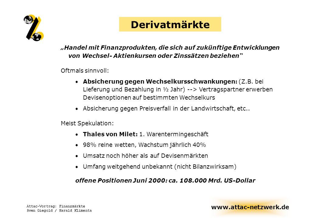 www.attac-netzwerk.de Attac-Vortrag: Finanzmärkte Sven Giegold / Harald Klimenta Derivatmärkte Handel mit Finanzprodukten, die sich auf zukünftige Ent