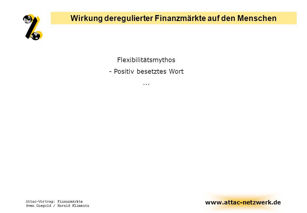 www.attac-netzwerk.de Attac-Vortrag: Finanzmärkte Sven Giegold / Harald Klimenta Wirkung deregulierter Finanzmärkte auf den Menschen Flexibilitätsmyth
