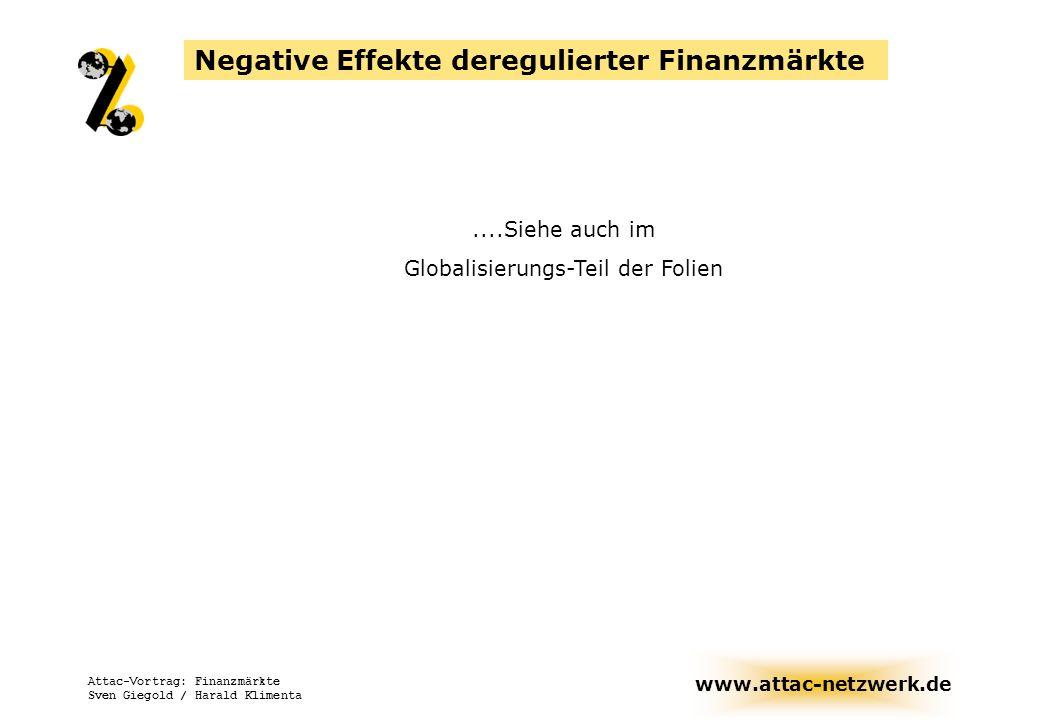 www.attac-netzwerk.de Attac-Vortrag: Finanzmärkte Sven Giegold / Harald Klimenta Negative Effekte deregulierter Finanzmärkte....Siehe auch im Globalis