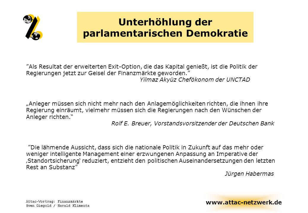 www.attac-netzwerk.de Attac-Vortrag: Finanzmärkte Sven Giegold / Harald Klimenta Unterhöhlung der parlamentarischen Demokratie Als Resultat der erweit