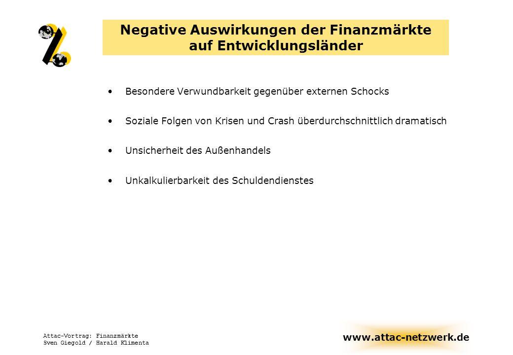 www.attac-netzwerk.de Attac-Vortrag: Finanzmärkte Sven Giegold / Harald Klimenta Negative Auswirkungen der Finanzmärkte auf Entwicklungsländer Besonde