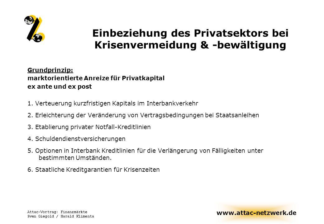 www.attac-netzwerk.de Attac-Vortrag: Finanzmärkte Sven Giegold / Harald Klimenta Einbeziehung des Privatsektors bei Krisenvermeidung & -bewältigung Gr
