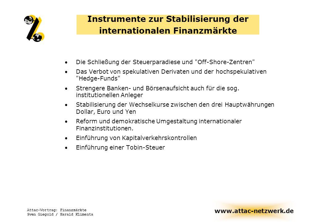 www.attac-netzwerk.de Attac-Vortrag: Finanzmärkte Sven Giegold / Harald Klimenta Instrumente zur Stabilisierung der internationalen Finanzmärkte Die S
