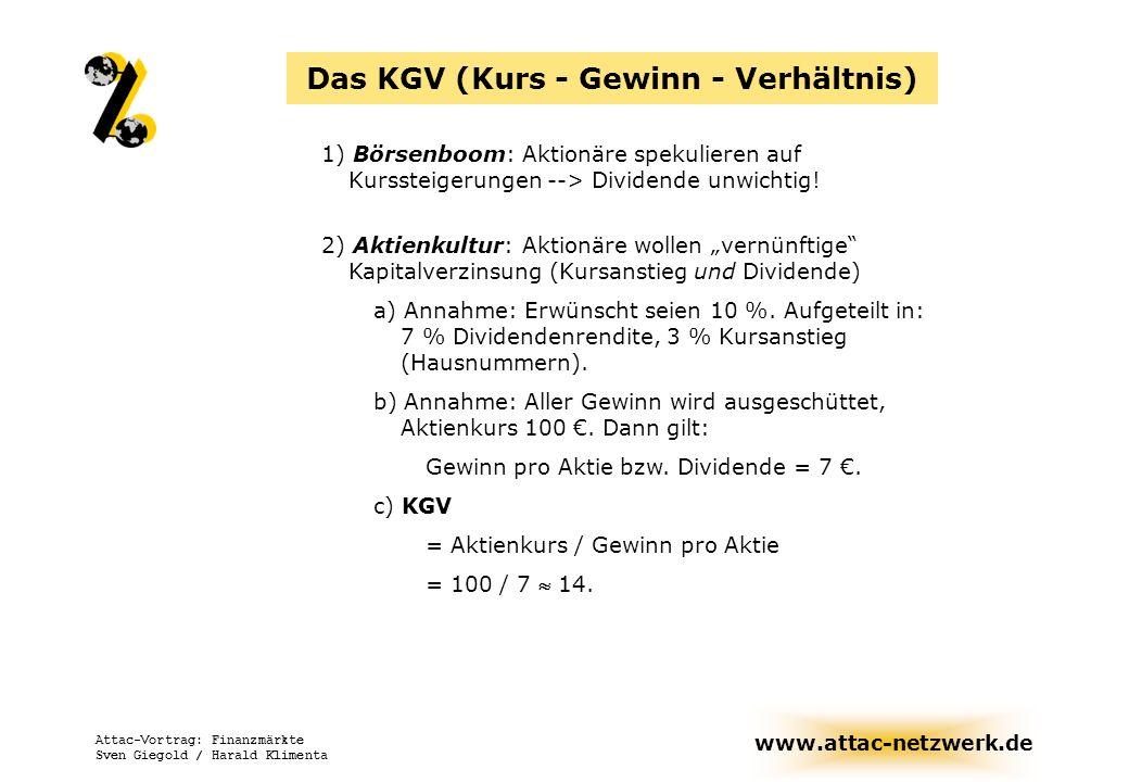 www.attac-netzwerk.de Attac-Vortrag: Finanzmärkte Sven Giegold / Harald Klimenta Das KGV (Kurs - Gewinn - Verhältnis) 1) Börsenboom: Aktionäre spekuli