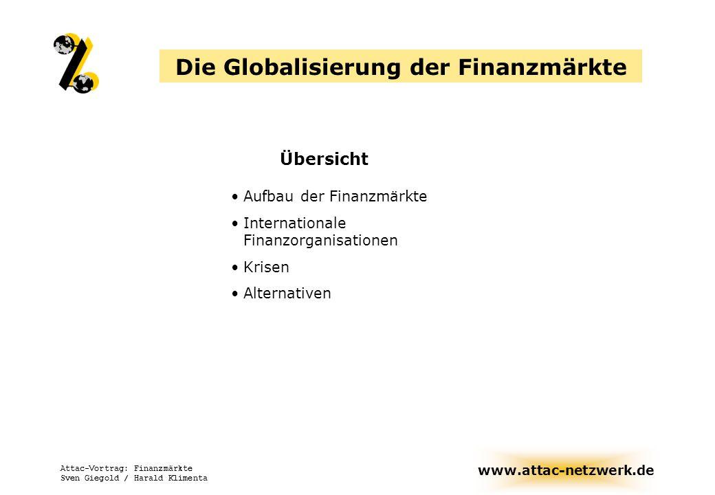 www.attac-netzwerk.de Attac-Vortrag: Finanzmärkte Sven Giegold / Harald Klimenta Die Globalisierung der Finanzmärkte Übersicht Aufbau der Finanzmärkte