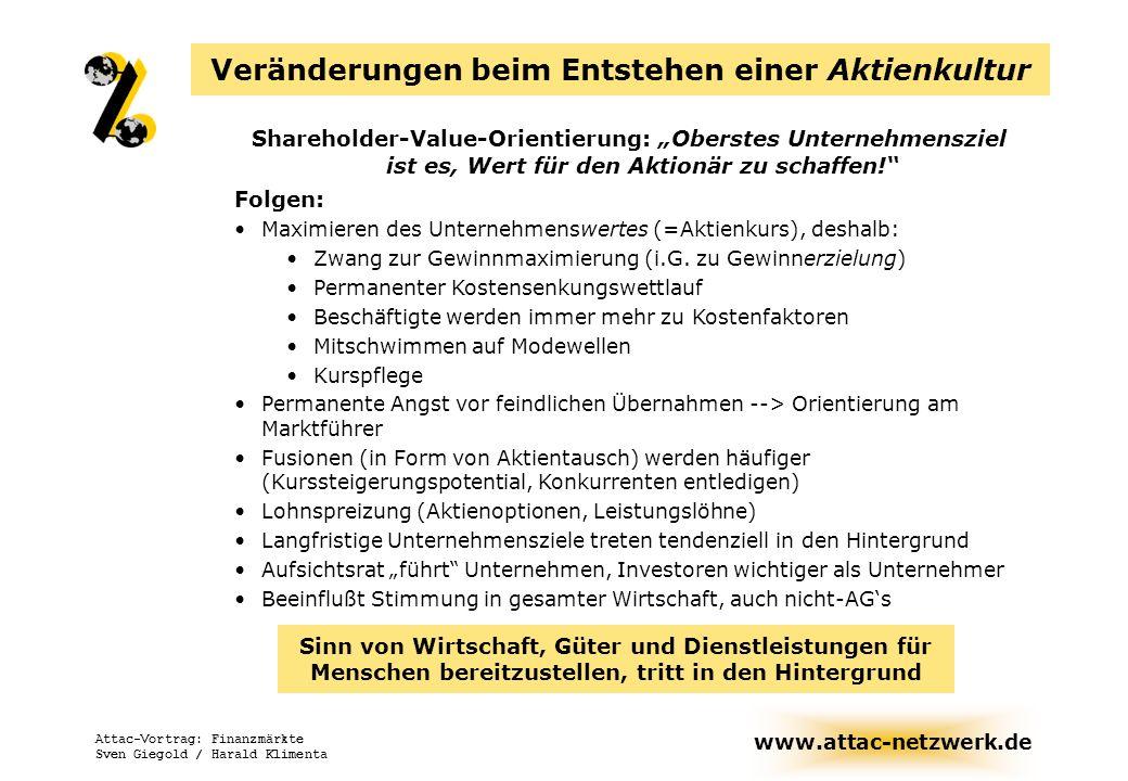 www.attac-netzwerk.de Attac-Vortrag: Finanzmärkte Sven Giegold / Harald Klimenta Oberstes Unternehmensziel ist es, Wert für den Aktionär zu schaffen Folgen: Orientierung am Marktführer (Permanente Angst vor feindlichen Übernahmen) Maximieren des Unternehmenswertes, deshalb: Mitschwimmen auf Modewellen Kurspflege Permanenter Kostensenkungswettlauf Kurzfristorientierung Aufsichtsrat führt Unternehmen, Investoren wichtiger als Unternehmer Fusionen (in Form von Aktientausch) werden häufiger (Kurssteigerungspotential) Sinn von Wirtschaft, Güter und Dienstleistungen für Menschen bereitzustellen, tritt in den Hintergrund Die Shareholder-Value-Orientierung