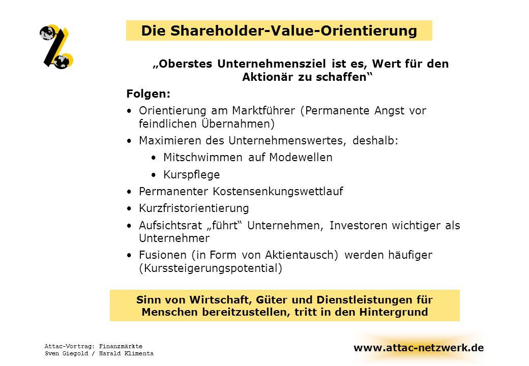 www.attac-netzwerk.de Attac-Vortrag: Finanzmärkte Sven Giegold / Harald Klimenta Oberstes Unternehmensziel ist es, Wert für den Aktionär zu schaffen F