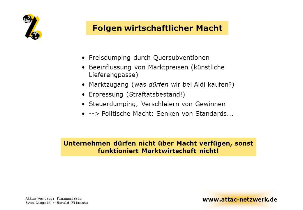 www.attac-netzwerk.de Attac-Vortrag: Finanzmärkte Sven Giegold / Harald Klimenta Notwendige Schritte zur Begrenzung des Einflusses der Börsen Wiedereinführung einer Börsenumsatzsteuer Erhöhung von Spekulationssteuern (Steuern auf Veräußerungsgewinne) Festlegung von Mindesthaltezeiten Erschweren von Fusionen (Barpflicht)