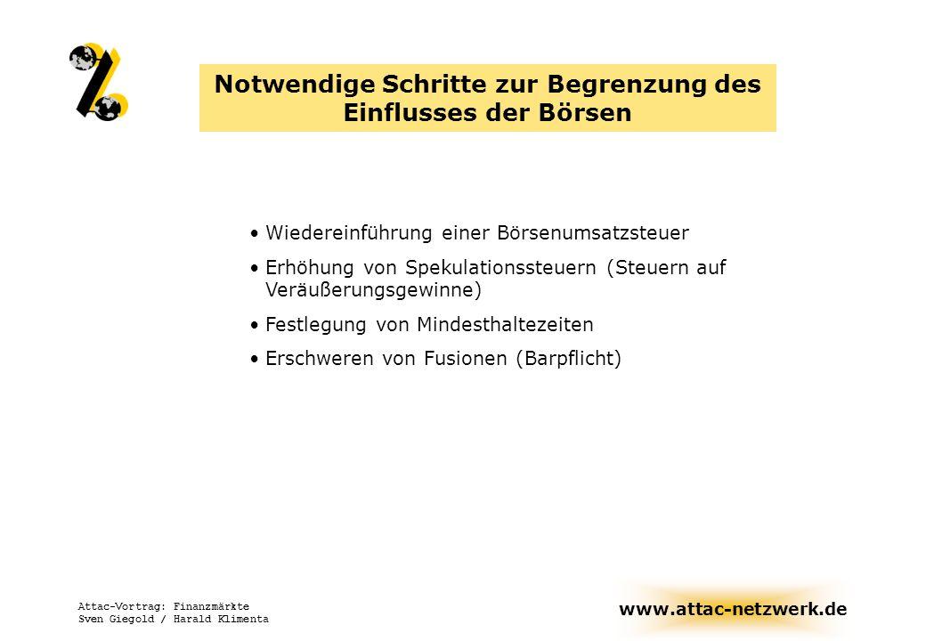 www.attac-netzwerk.de Attac-Vortrag: Finanzmärkte Sven Giegold / Harald Klimenta Notwendige Schritte zur Begrenzung des Einflusses der Börsen Wiederei