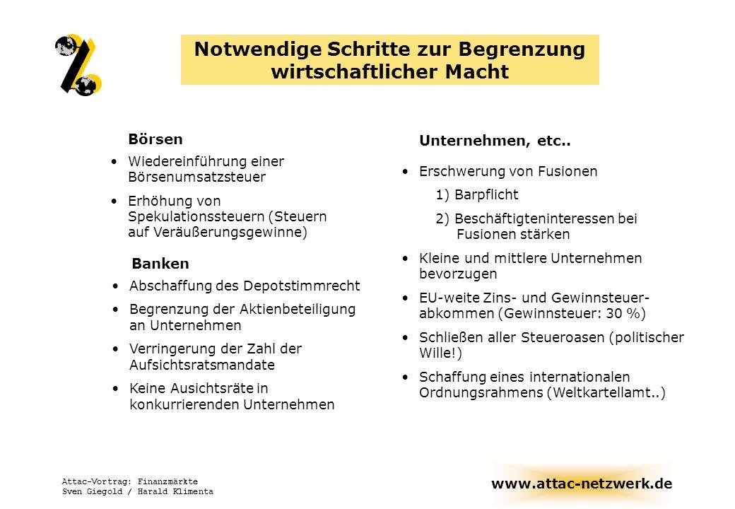 www.attac-netzwerk.de Attac-Vortrag: Finanzmärkte Sven Giegold / Harald Klimenta Unternehmen, etc.. Notwendige Schritte zur Begrenzung wirtschaftliche