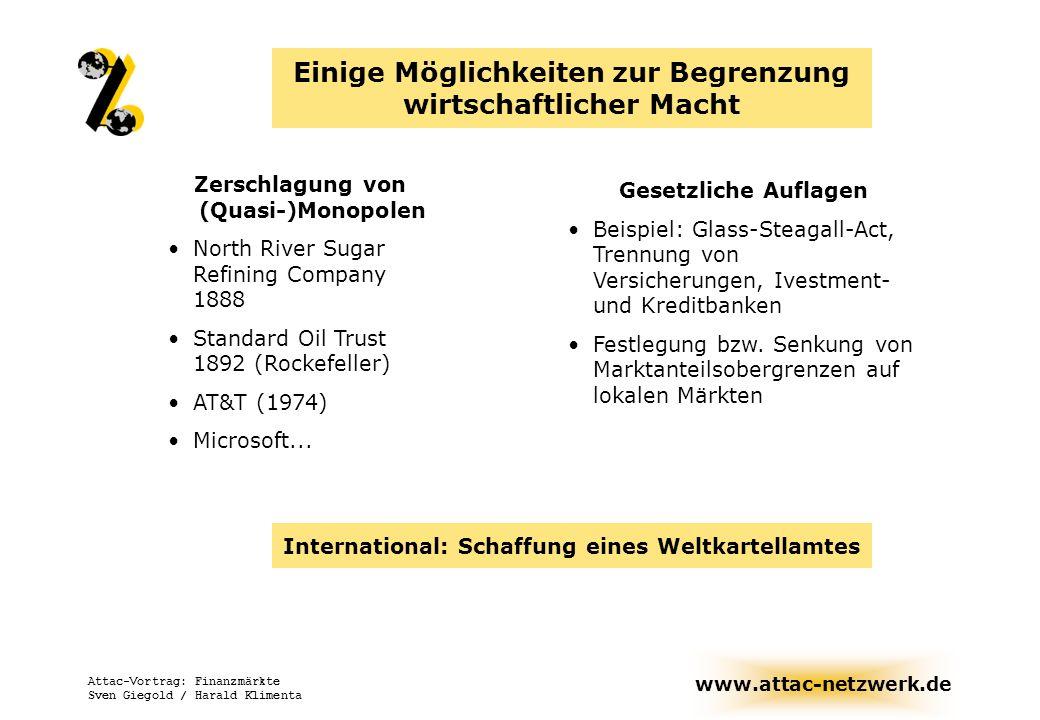 www.attac-netzwerk.de Attac-Vortrag: Finanzmärkte Sven Giegold / Harald Klimenta Zerschlagung von (Quasi-)Monopolen North River Sugar Refining Company