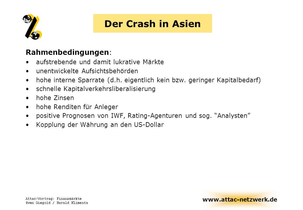 www.attac-netzwerk.de Attac-Vortrag: Finanzmärkte Sven Giegold / Harald Klimenta Der Crash in Asien Rahmenbedingungen: aufstrebende und damit lukrativ