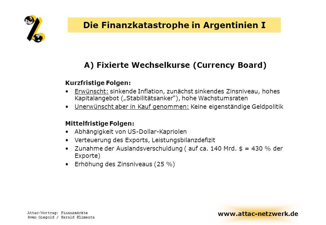 www.attac-netzwerk.de Attac-Vortrag: Finanzmärkte Sven Giegold / Harald Klimenta Die Finanzkatastrophe in Argentinien I A) Fixierte Wechselkurse (Curr