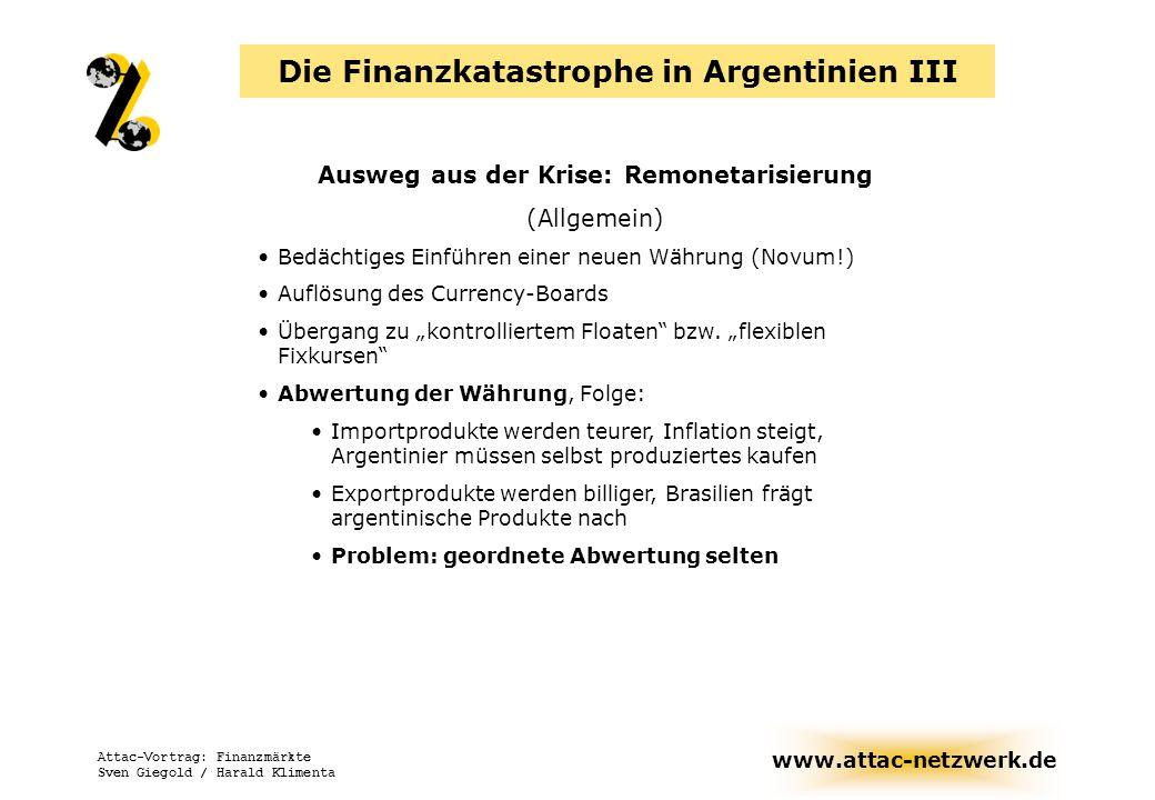 www.attac-netzwerk.de Attac-Vortrag: Finanzmärkte Sven Giegold / Harald Klimenta Ausweg aus der Krise: Remonetarisierung (Allgemein) Bedächtiges Einfü