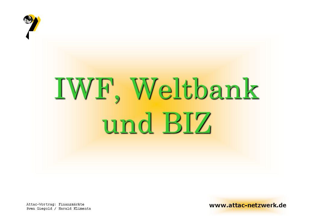 www.attac-netzwerk.de Attac-Vortrag: Finanzmärkte Sven Giegold / Harald Klimenta Wenn die Länder die Hilfe des IWF suchen, dann sollten Europa und Amerika den IWF wie einen Rammbock benutzen, um Vorteile zu gewinnen.