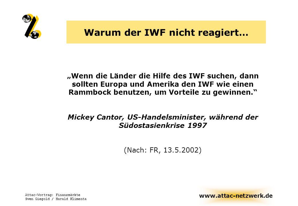 www.attac-netzwerk.de Attac-Vortrag: Finanzmärkte Sven Giegold / Harald Klimenta IMF: International monetary fund Gegründet 1944 Bretton-Woods-Institution 182 Mitgliedsländer, ca.