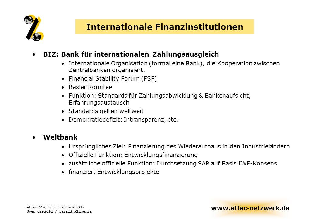 www.attac-netzwerk.de Attac-Vortrag: Finanzmärkte Sven Giegold / Harald Klimenta Internationale Finanzinstitutionen BIZ: Bank für internationalen Zahl