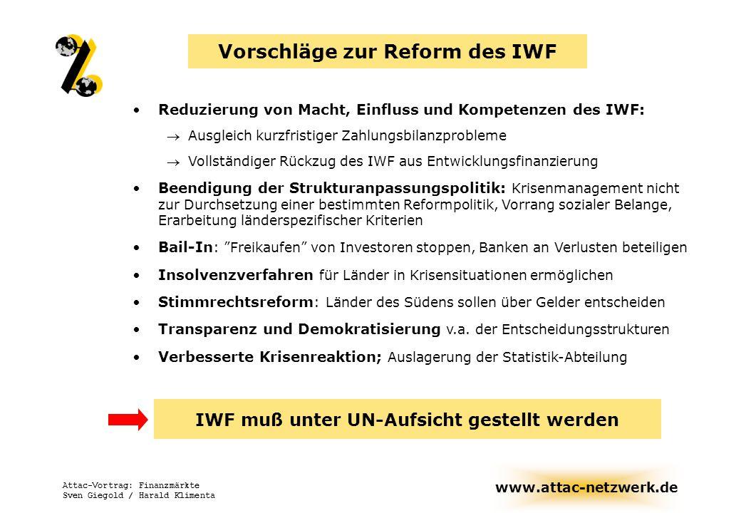www.attac-netzwerk.de Attac-Vortrag: Finanzmärkte Sven Giegold / Harald Klimenta Gesellschafts- und ordnungs- politische Disziplinierungs- funktion Weltwirtschaftliche Koordinierungs-, Steuerungs- und Regulierungsfunktion Finanzierungsfunktion Governance-Funktion Minimierung Maximierung (Neu-)Fokussierung Demokratisierung Funktionen des Internationalen Entwicklungsfonds (IWF) - Entwicklungsrichtung notwendiger Reformen