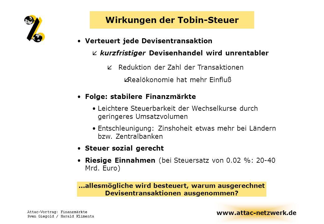www.attac-netzwerk.de Attac-Vortrag: Finanzmärkte Sven Giegold / Harald Klimenta Wirkungen der Tobin-Steuer Verteuert jede Devisentransaktion å kurzfr