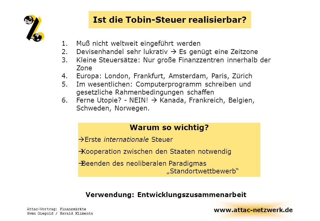 www.attac-netzwerk.de Attac-Vortrag: Finanzmärkte Sven Giegold / Harald Klimenta Die Grundidee Tobins Entschleunigung Quantitative Reduktion Sand in the wheels Währung A Währung B Steuer Transaktion