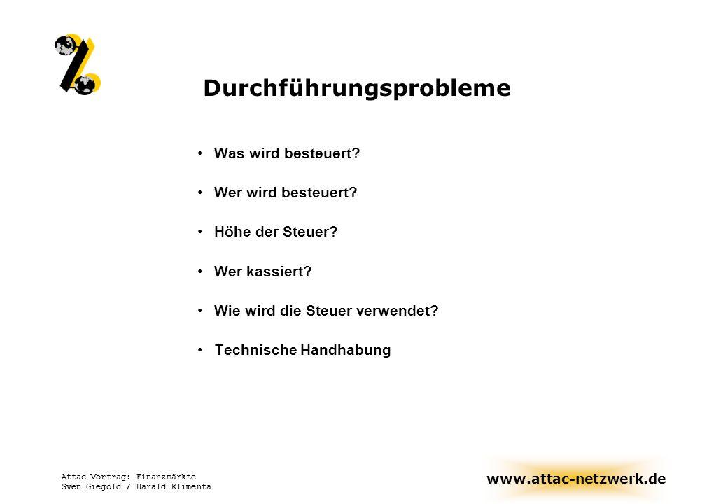 www.attac-netzwerk.de Attac-Vortrag: Finanzmärkte Sven Giegold / Harald Klimenta Durchführungsprobleme Was wird besteuert? Wer wird besteuert? Höhe de