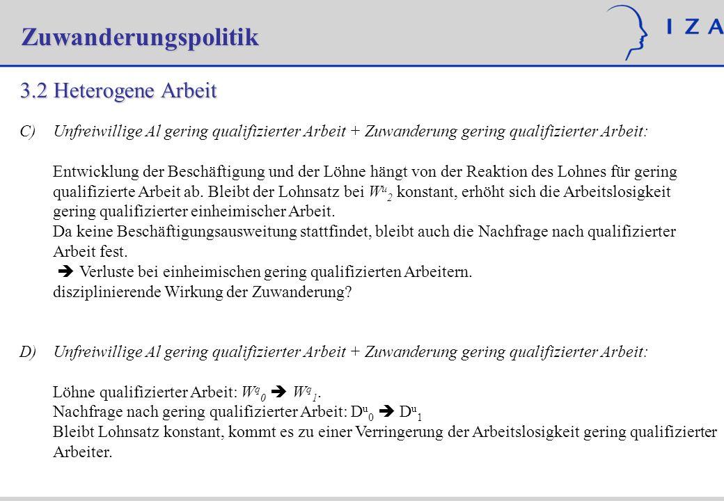 Zuwanderungspolitik 3.2Heterogene Arbeit C) C)Unfreiwillige Al gering qualifizierter Arbeit + Zuwanderung gering qualifizierter Arbeit: Entwicklung de