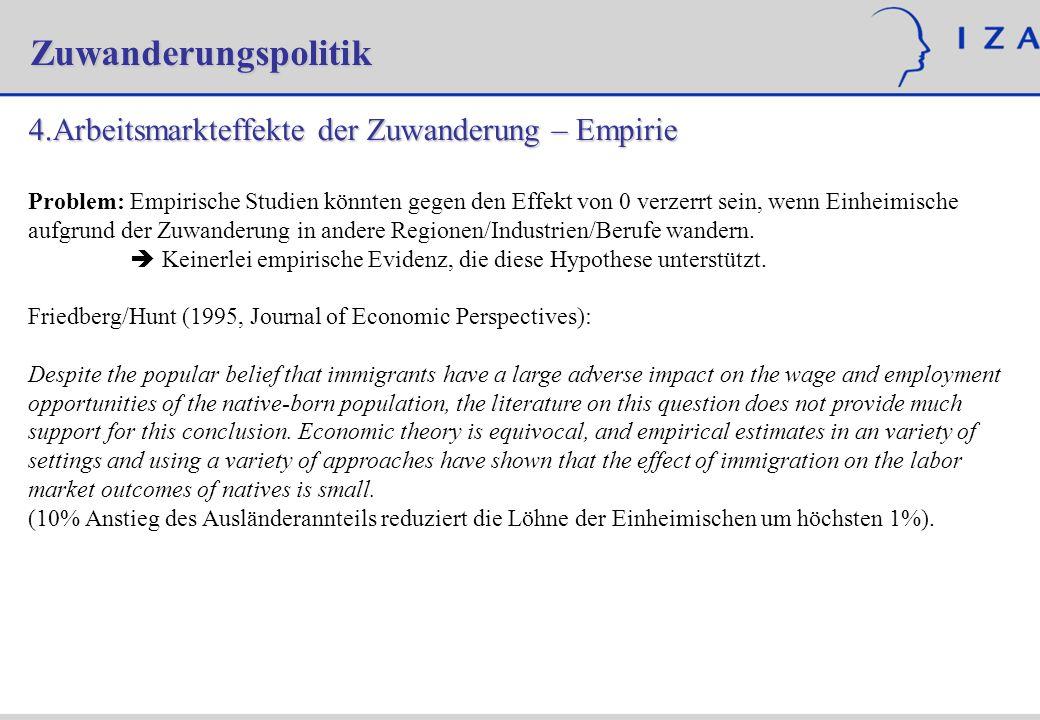 Zuwanderungspolitik 4.Arbeitsmarkteffekte der Zuwanderung – Empirie Problem: Empirische Studien könnten gegen den Effekt von 0 verzerrt sein, wenn Ein