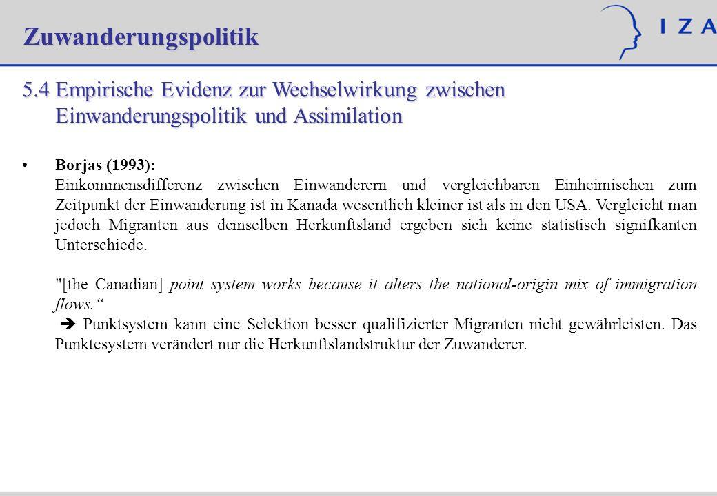Zuwanderungspolitik 5.4 Empirische Evidenz zur Wechselwirkung zwischen Einwanderungspolitik und Assimilation Borjas (1993): Einkommensdifferenz zwisch