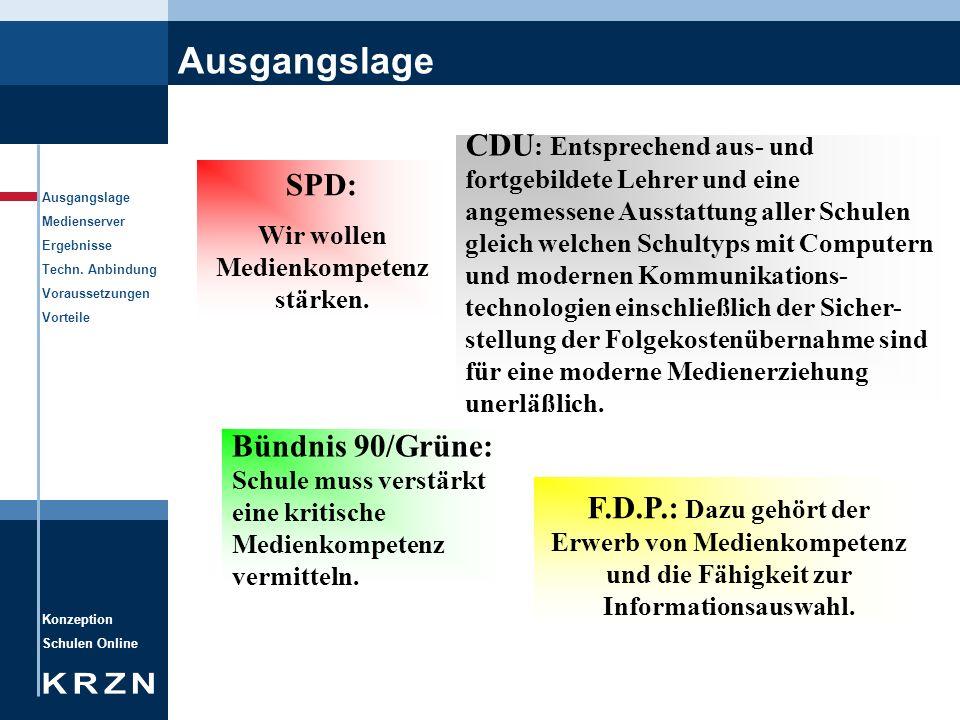 Konzeption Schulen Online Ausgangslage Medienserver Ergebnisse Techn. Anbindung Voraussetzungen Vorteile Ausgangslage SPD: Wir wollen Medienkompetenz