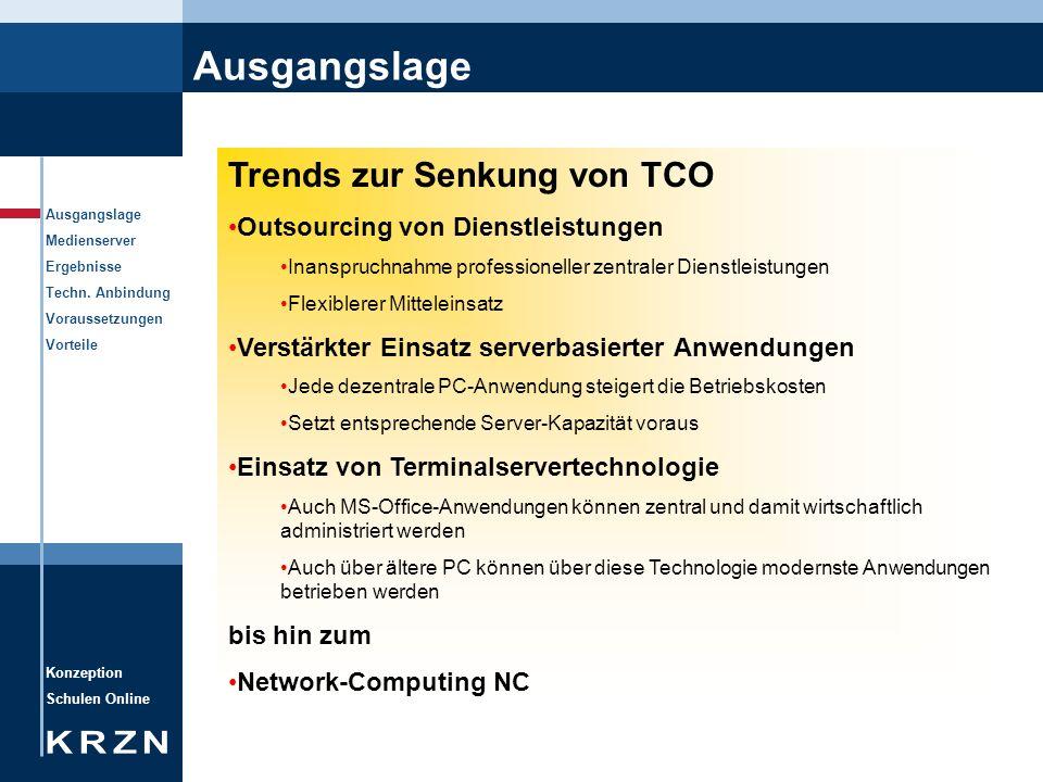 Konzeption Schulen Online Ausgangslage Medienserver Ergebnisse Techn. Anbindung Voraussetzungen Vorteile Ausgangslage Trends zur Senkung von TCO Outso