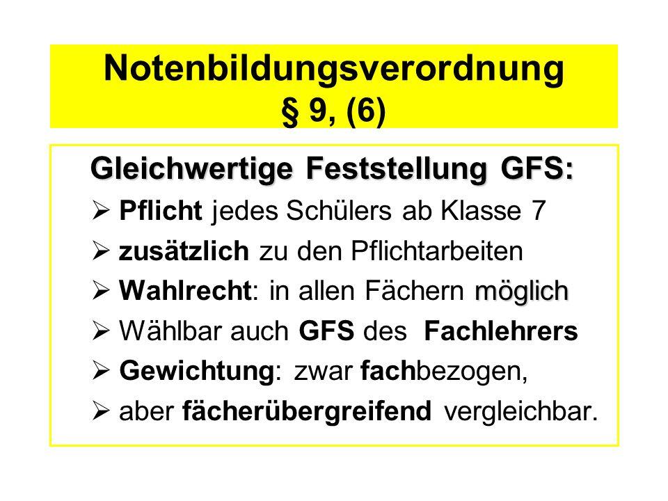 Notenbildungsverordnung § 9, (6) Gleichwertige Feststellung GFS: Pflicht jedes Schülers ab Klasse 7 zusätzlich zu den Pflichtarbeiten möglich Wahlrech
