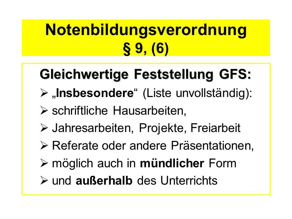 Notenbildungsverordnung § 9, (6) Gleichwertige Feststellung GFS: Insbesondere (Liste unvollständig): schriftliche Hausarbeiten, Jahresarbeiten, Projek