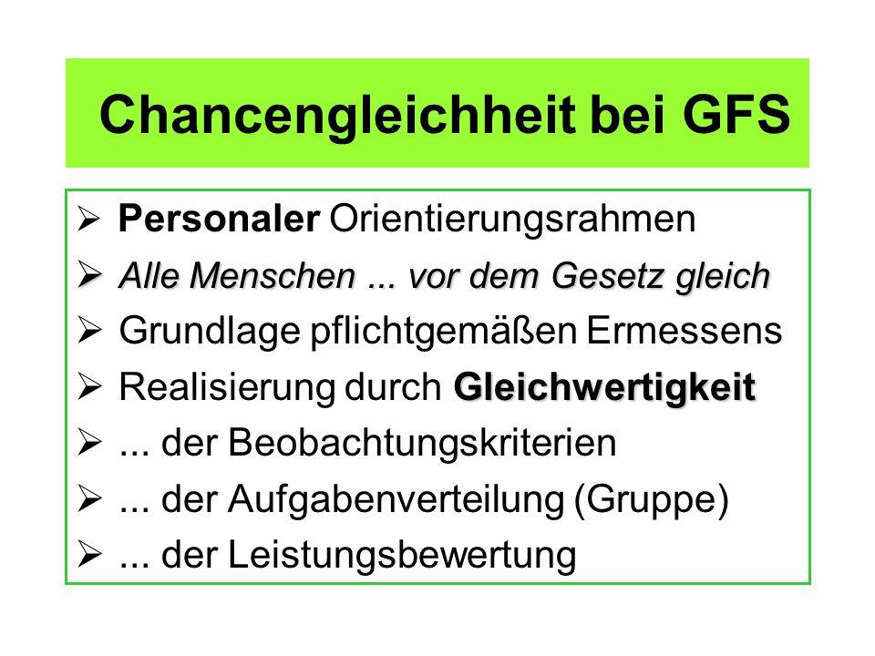 Chancengleichheit bei GFS Personaler Orientierungsrahmen A Alle Menschen... vor dem Gesetz gleich Grundlage pflichtgemäßen Ermessens Realisierung durc