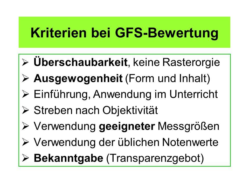 Kriterien bei GFS-Bewertung Überschaubarkeit, keine Rasterorgie Ausgewogenheit (Form und Inhalt) Einführung, Anwendung im Unterricht Streben nach Obje