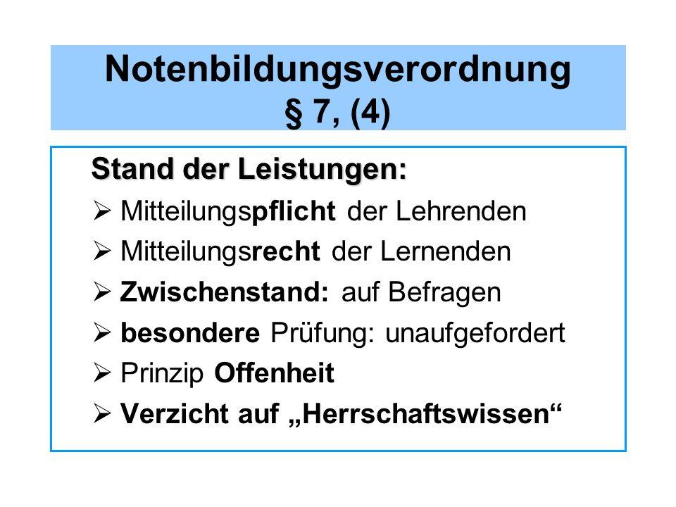 Notenbildungsverordnung § 7, (4) Stand der Leistungen: Stand der Leistungen: Mitteilungspflicht der Lehrenden Mitteilungsrecht der Lernenden Zwischens