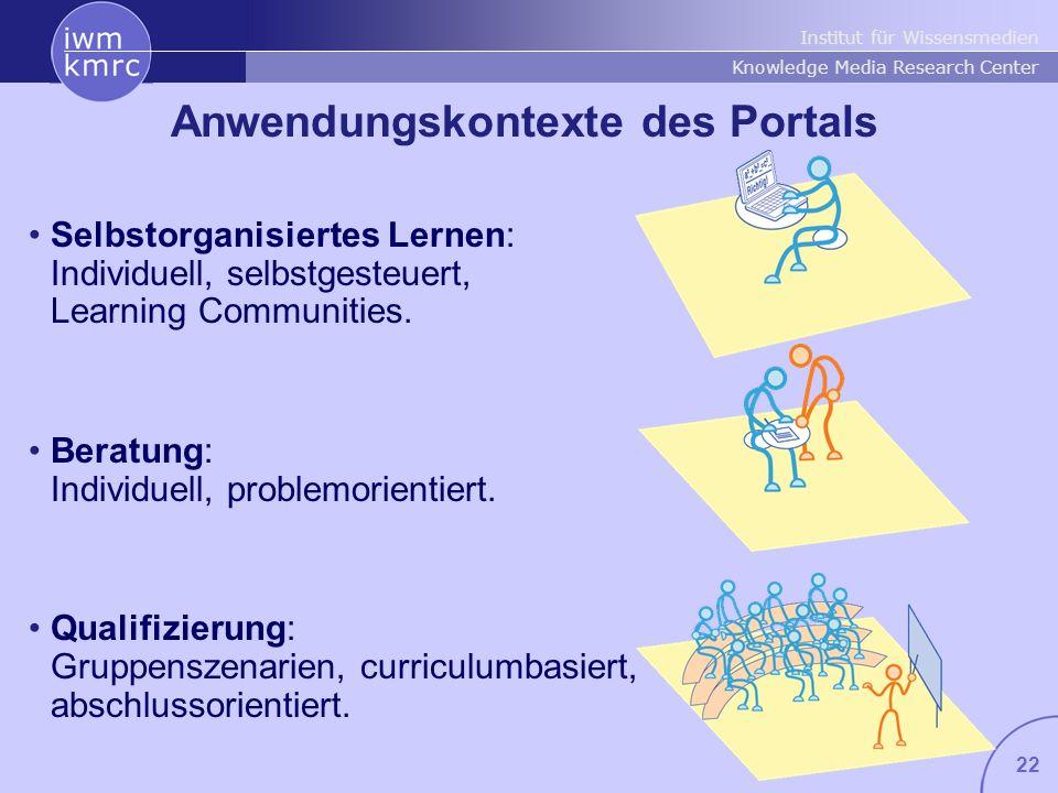 Institut für Wissensmedien Knowledge Media Research Center 22 Anwendungskontexte des Portals Selbstorganisiertes Lernen: Individuell, selbstgesteuert,