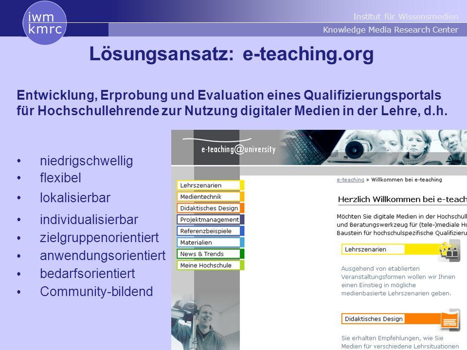 Institut für Wissensmedien Knowledge Media Research Center 4 Projektstruktur
