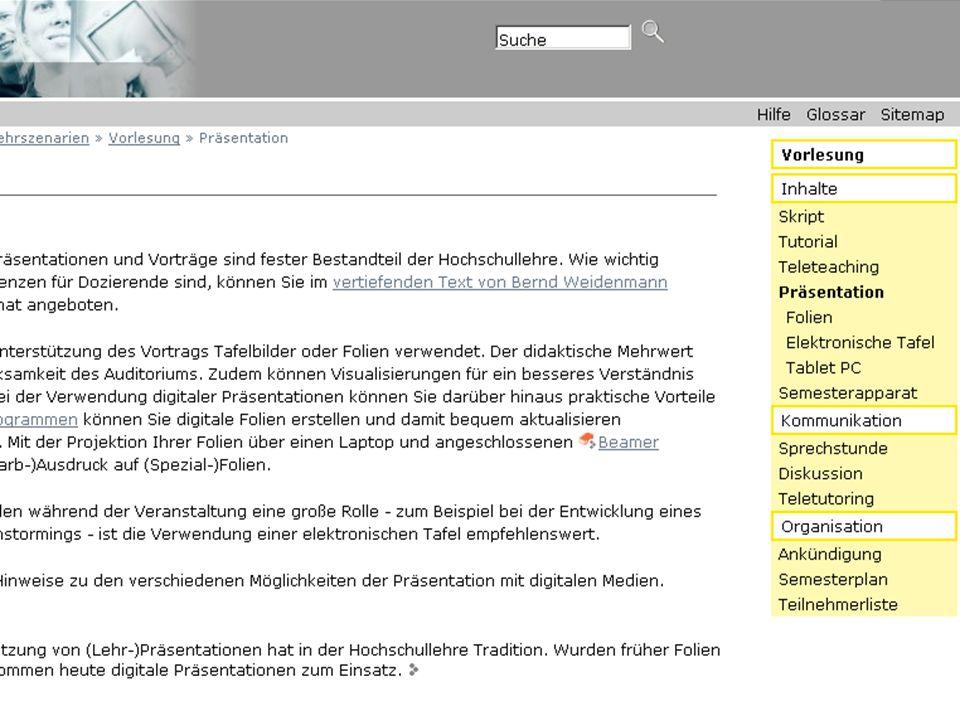 Institut für Wissensmedien Knowledge Media Research Center 10 Navigationshilfe Sitemap Einstiegskategorie Medientechnik Problem: Komplexe Inhaltsstruktur Lösungsansatz: Klickbare Sitemaps, direkter Zugriff auf Inhalte auf tieferen Navigationsebenen