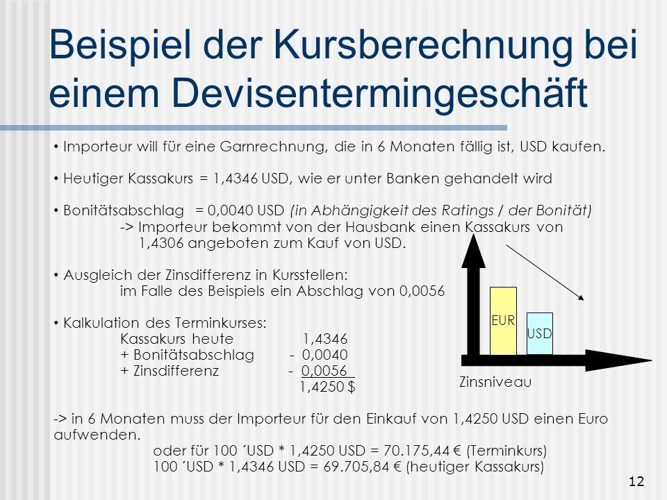 11 Devisentermingeschäft Das Devisentermingeschäft ist ein beidseitig verpflichtendes Geschäft, das unabhängig von den Marktkursen am Erfüllungstag be