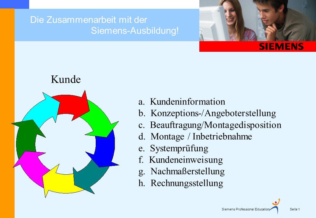 Siemens Professional Education Seite 2 Die Zusammenarbeit mit der Siemens-Ausbildung.