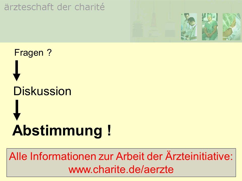 Abstimmung ! Fragen ? Diskussion Alle Informationen zur Arbeit der Ärzteinitiative: www.charite.de/aerzte
